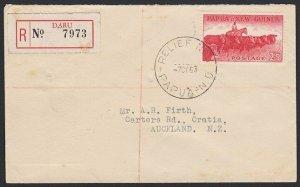 PAPUA NEW GUINEA 1963 2/5d Cattle on Reg cover - Relief No.1 cds ex Daru....G877