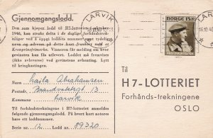 Norway 1946 Larvik Cancels Stamp Card to Oslo Ref 45654