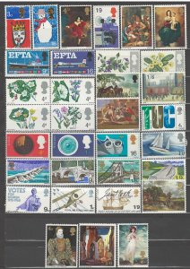 COLLECTION LOT OF # 848 GREAT BRITAIN 33 MH STAMPS 1966+