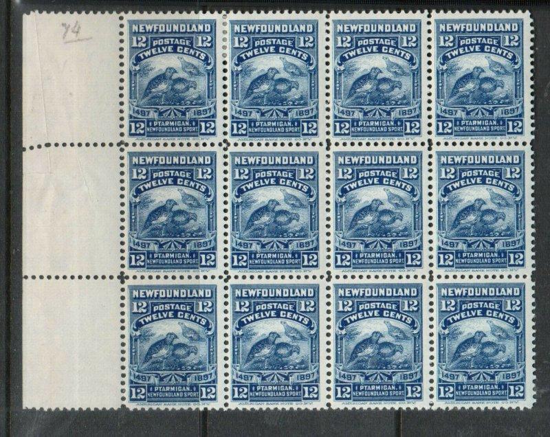 Newfoundland #69 Very Fine Mint Block Of Twelve - Ten Never Hinged Stamps