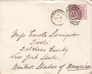 Great Britain 1874 3d Queen Victoria Oxford 603 Duplex on Cover to New York.