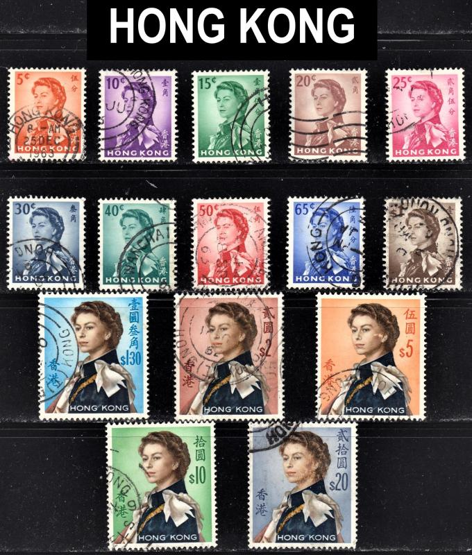 Hong Kong Scott 203-17  complete set  F to VF used.