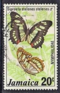 JAMAICA SC# 399 **USED** 20c  1975  BUTTERFLY SEE SCAN