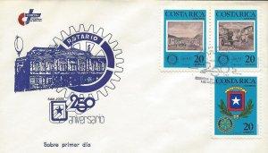 COSTA RICA ROTARY CLUB, COAT OF ARMS, SAN JOSE 250th ANNIV Sc 389-391 FDC 1987