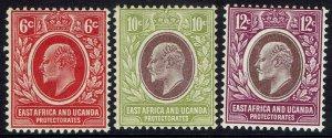 EAST AFRICA & UGANDA 1907 KEVII 6C 10C AND 12C