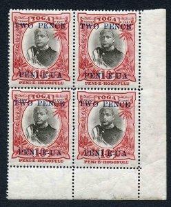 Tonga SG66 1923-4 2d on 10d Corner Block (Plate retouch NW Corner) M/M