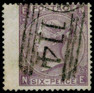 SG97, 6d lilac plate 5, FINE USED. Cat £140. NE