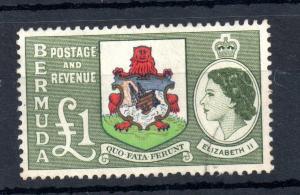 Bermuda QEII 1953 £1 Arms good used SG#150 WS13467
