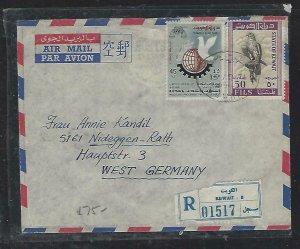 KUWAIT  (P2608B) 1971 REG A/M LETTER UN 45F+ BIRD 50F TO GERMANY