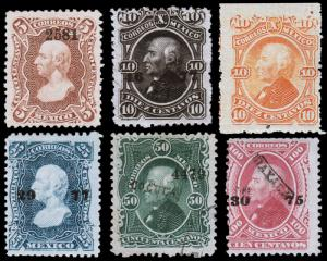 Mexico Scott 106-107, 108c, 109-111 (1874-78) Mint/Used H F-VF, CV $93.35