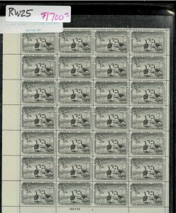RW25 1958 FULL FEDERAL DUCK STAMP SHEET.   VERY SCARCE .