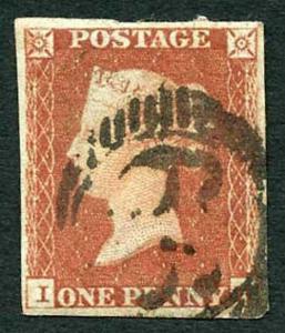 1841 Penny Red (IB) Four Margin corner crease