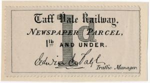(I.B) Taff Vale Railway : Newspaper Parcel 1d (Traffic Manager)
