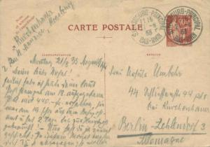 France 90c Peace with Olive Branch Postal Card 1933 Strasbourg-Principal, Bas...