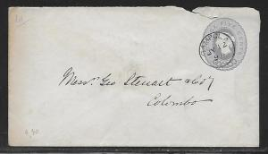 Ceylon Postal Stationery Envelope H&G 14 Used 1894