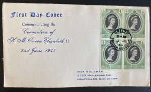 1953 British Honduras First Day Cover Queen Elizabeth 2 coronation Stamp Block