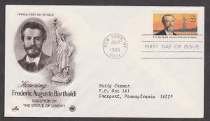 2147 Frederic Bartholdi ArtCraft  FDC with neatly typewritten address