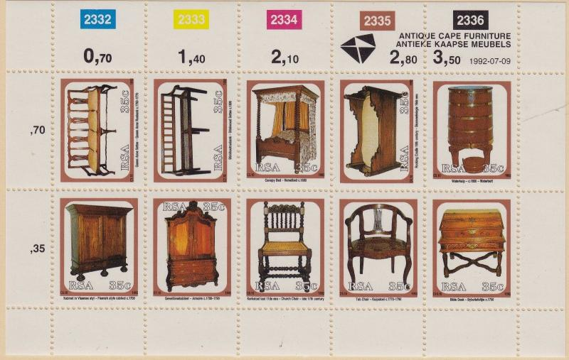 SOUTH AFRICA MNH Scott # 833a Furniture Sheet (1 Sheet)