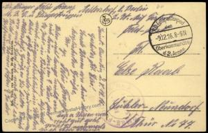 Germany WWI Air Force Armee Flugpark 2 Feldpost St Quentin PC Cover 68316