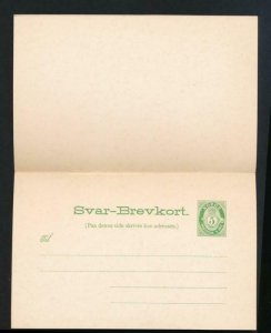 NORWAY Mi. P51 POSTAL STATIONERY POSTAL CARD 5+5 PAID REPLY