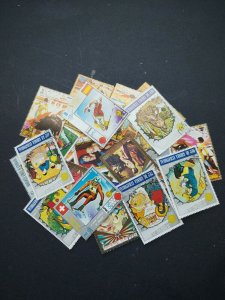 Equatorial Guinea, 390 all different off paper stamps