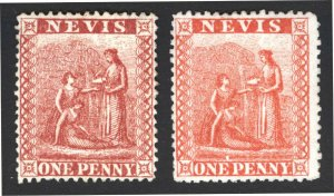 Nevis 1876 1d Dp Rose Red & Verm Red SG 16-17 Sc 14A-14B UN Cat £80($105)
