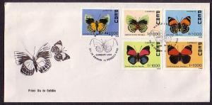 Peru, Scott cat. 979-982. Butterflies issue on a First day cover.