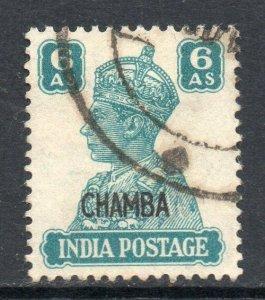 Indian States Chamba 1942 KGVI 6a SG 117 used CV £48