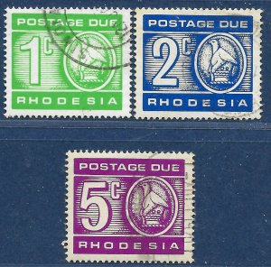 Rhodesia sg D18-20 used 1970 Postage Due part set 3 of 5