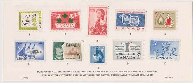 Canada 1960 Souvenir Card USC #SC2 Cat, $20.- Canadian History in Postage Stamps