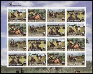 Guinea-Bissau WWF Defassa Waterbuck Imperforated Sheetlet of 4 sets MI#3919-3922