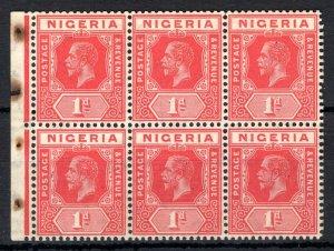 NIGERIA KGV Stamps SG.2var 1d Red BOOKLET PANE (1915) Block 6 Mint MM/MNH SS3474