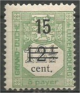 LUXEMBOURG, 1920, MH 15c on 12 1/2c, Surcharged Scott J8