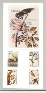 Grenada #1251-1255 Audubon, Birds 4v & 1v S/S Imperf Proofs on Card