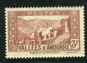FRENCH ANDORRA; 1932 early Pictorial issue fine Mint hinged 3Fr. value