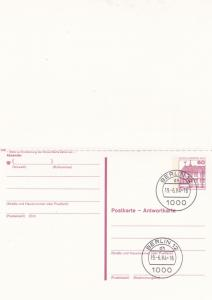 West Berlin 60pfg Prepaid Postcard with Reply FDC Unused VGC
