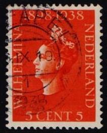 Netherlands  1938 used jubileum Wilhelmina 5 ct    #