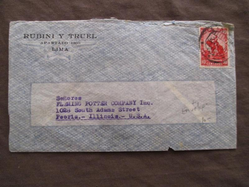 1936 Peru To USA Early Airmail Business Cover - (ZZ147)