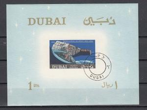 Dubai, Mi cat. 236, BL43. Space s/sheet. Canceled, C.T.O. *