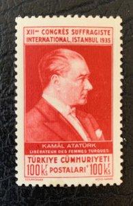 Turkey scarce 1935 100k+100k Womens Suffrage NH. Scott B68, CV $217. Isfila 1388