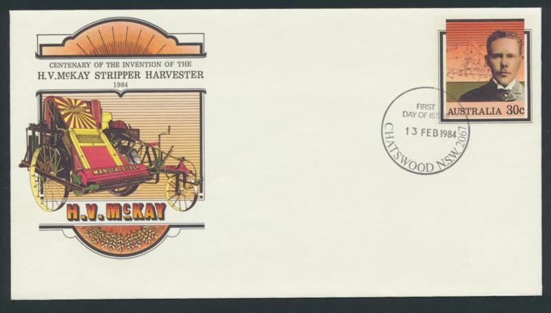 Australia PrePaid Envelope 1984 Invention of the H V McKay Stripper Harvester