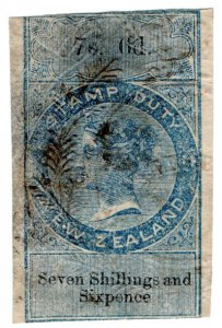 (I.B) New Zealand Revenue : Stamp Duty 7/6d (reversed watermark)
