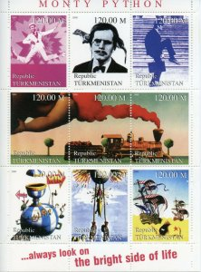 Turkmenistan Stamps 2000 MNH Monty Python Flying Circus John Cleese TV 9v M/S
