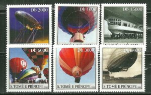 St.Thomas & Prince Islands MNH 1528A-F Hot Air Balloons & Zeppelins