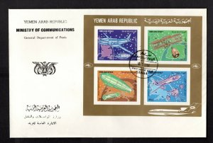 Yemen #C91A-B (1982 Aviation History) VF set of souvenir sheets on 2 FDC