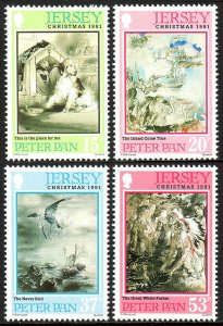Jersey 578-581,MNH.Christmas.Illustration by Edmund Blampied from Peter Pan,1991