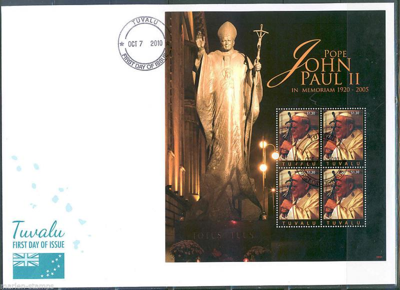 TUVALU  5th MEMORIAL ANNIVERSARY POPE JOHN PAUL II  SHEET II FIRST DAY COVER