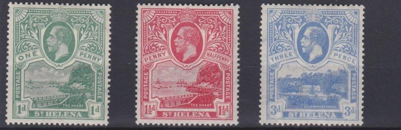 ST HELENA  1922   S G 89 - 91 SET OF 3     MH