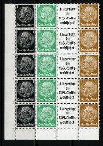 GERMANY 1933-40 von Hindenburg Zusammendruecke BLOCK Swastika Wmk SG 493-496 MNH