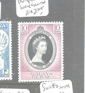 MALAYA PERAK  (P2704B) QEII CORONATION SG 149  MNH